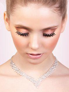 Glamour - Black-Yellow Rhinestone Eyelashes 572 | Dancesport Fashion @ DanceShopper.com