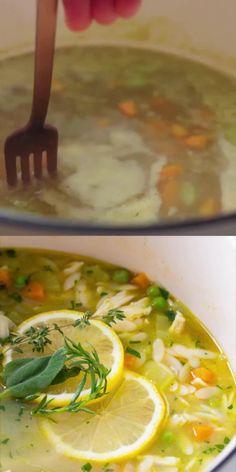 Lemon Chicken Orzo Soup, Chicken Soup Recipes, Healthy Soup Recipes, Vegetarian Recipes, Cooking Recipes, Orzo Recipes, Chicken Soup With Potatoes, Soup With Rotisserie Chicken, Kids Soup Recipes