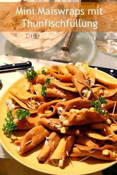 Mini Maiswraps mit Thunfischfüllung