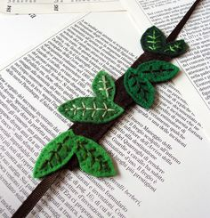 felt leaf cuff bracelet - or make as a book mark with elastic