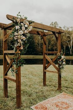 Gorgeous Floral Wooden Arch - Sites new Wooden Wedding Arches, Fall Wedding Arches, Wedding Arch Rustic, Outdoor Wedding Arches, Floral Wedding, Wedding Blush, Bouquet Wedding, Wedding Flowers, Modern Gazebo