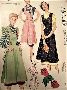 1940s CHARMING Full Bib Aprons Pattern McCall 1104 Applique