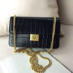 £115.63  Mulberry Cheyne Clutch Black Polished Embossed Croc Leather