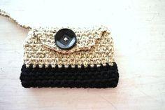 Crochet Wristlet Clutch Colorblock Small Yarn Phone Camera mp3 Case Black & Tan Mini Handbag Purse on Etsy, $20.00