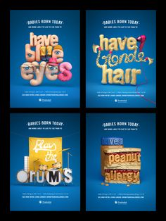 Chris Labrooy / Prudential - Living to 100 - News - Debut Art Baby Born Today, Chris Labrooy, 3d Type, Live Long, The 100, Typography, Ads, Posters, Image