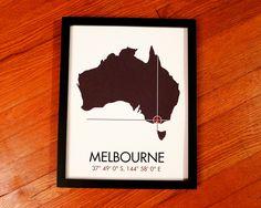 Melbourne Latitude Longitude Map Art City Print by MrCityPrinting, via Etsy.