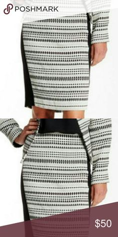 """COMING SOON  NWT Modern American Designer Woven Texture Pencil Skirt.  Front and back pattern of black, white & grey with  solid black side panels provide contrast. Concealed back zip closure, lined, approximately 22"""" length. Dry Clean only.  Size 10.  Should be in by 12/3/16  brand fits true to size Modern American Designer / Nordstroms Skirts Pencil"""