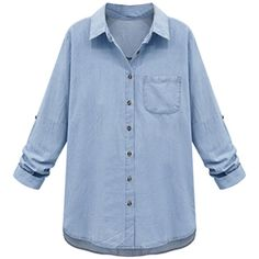 Light Blue Pocket Button Roll-up Sleeve Loose Denim Shirt ($32) ❤ liked on Polyvore featuring tops, shirts, camisas, long sleeve shirts, blue top, long tops, blue denim shirt and shirts & tops