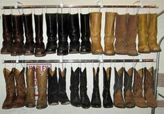 Shower rods plus coat hangers (or metal hooks/clips) created to hang boots. Boots hold shape better when hung.