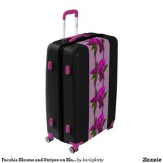 Fucshia Blooms and Stripes on Black Luggage