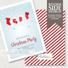 Printable Christmas Invitation with Stockings  by LemonadeMoments, $15.00