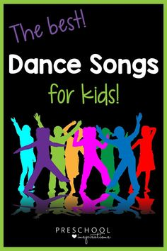 Dance songs for kids are the best remedy for stir crazy and energetic little ones. They're perfect for all kids, from toddlers to preschool and on up! Action and dance songs are great when kids need to get their wiggles out at home or school, when the weather isn't cooperating, and when you just need a bit of fun! Preschool Circle Time Songs, Music Activities For Kids, Circle Time Activities, Activities For 2 Year Olds, Creative Activities For Kids, Preschool Songs, Music For Kids, Fun Songs, Kids Songs