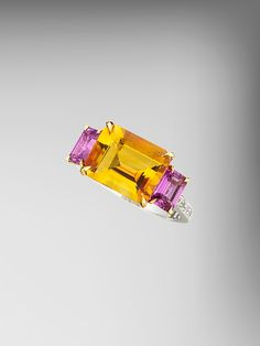 Paolo Costagli 18kt Gold Citrine and Pink Sapphire Florentine Ring