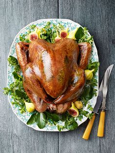 Sage-Butter Roasted Turkey: A citrus brine guarantees this bird is tender and moist.