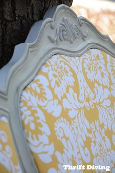 A beautiful headboard refinished in Paris Grey Chalk Paint® decorative paint by Annie Sloan   By Thrift Diving