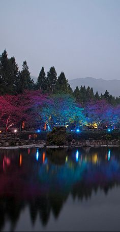 Colorful light display at the Formosan Aboriginal Culture Village in Nantou County, Taiwan • photo: Claire Chao on Flickr