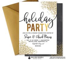 Christmas Holiday Party Invitation with festive gold glitter confetti dots. Choose from ready made printed invitations with envelopes or printable holiday party invitations. Gold shimmer envelopes and matching envelope liners available at digibuddha.com