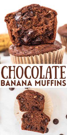 Healthy Chocolate Muffins, Craving Chocolate, Healthy Muffins, Muffin Recipes, Yummy Recipes, Yummy Food, Greek Yogurt Muffins, Protein Packed Snacks, Best Bread Recipe