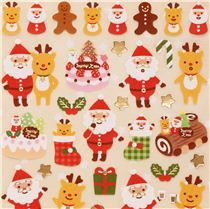 cute Christmas reindeer cake stickers with gold metallic from Japan