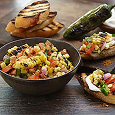 Grilled corn, jalapeño pepper and the great taste of OLD BAY perk up the flavor of pico de gallo in this colorful DIY-bruschetta.
