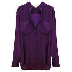 BALMAIN Purple Shirt ($1,565) ❤ liked on Polyvore featuring tops, blouses, shirts, balmain, women, collared shirt, long sleeve silk shirt, purple blouse, silk blouses ve shirts & blouses