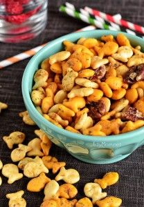 ~ Goldfish snack mix - add pretzels ~ 1 tsp. dill weed ~ 1 tsp. Worcestershire sauce ~ 1 packet dry ranch dressing mix ~ some lemon pepper salt ~ 1 1/2 cups pecans ~ 4 bags of goldfish ~ 1 stick of melted butter (going to try olive oil) ~ mix together ~ bake at 325 degrees ~ stir a few times ~