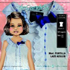 """Camiseta """"Puntilla lazo azulón"""" www.decandela.es"""