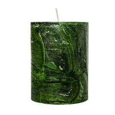 A cylindrical, hand made and scented candle.