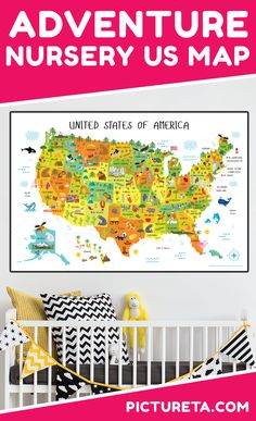 Hang up this map of USA for kids to create adventure nursery for your baby. I wish I had this map when growing up. It is full of adorable animals and famous landmarks and looks awesome in my baby's nursery. Get yours at PICTURETA. Nursery Decor Boy, Playroom Decor, Nursery Wall Art, Best Baby Gifts, Baby Girl Gifts, Gifts For Girls, Adventure Nursery, Adventure Map, Geography Map