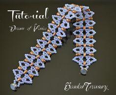 Dream of Venice - superduo bead pattern, beaded lace bracelet pattern, seed beads pattern, beading tutorial, lace bracelet / TUTORIAL ONLY