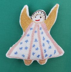 Items similar to Hand embroidered Cloth Dolls Angels on Etsy Doll Clothes, Angels, Trending Outfits, Dolls, Unique Jewelry, Christmas Ornaments, Handmade Gifts, Holiday Decor, Etsy