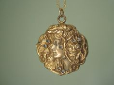 Art Nouveau Maiden Locket Etsy