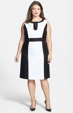 tahari colorblock split v dress #plussizedresses #plussizefashion #plussizeclothes #fatshion #springfashion