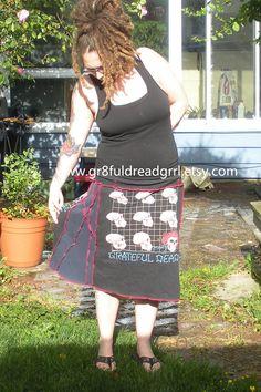 Grateful Dead Crazy Stitched Sides Skirt What a Long by gr8fuldreadgrrl, $50.00