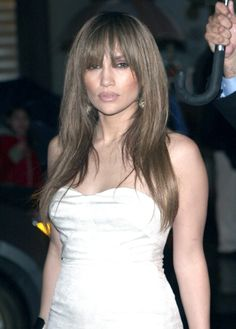 Jennifer Lopezs long sexy hairstyle with bangs
