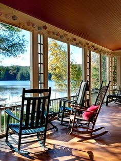 Traditional Porch With View Summer Lake House