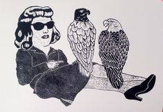 Monika Petersen. woman and falcons. Lino print 80x60cm