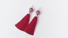 Long Tassel Earrings in Red Color
