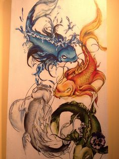 The 4 elements through coy fish! This is an interesting take on classic tattoo designs - Imgur