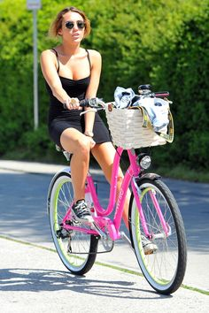 Miley Cyrus riding her bike in Toluca Lake