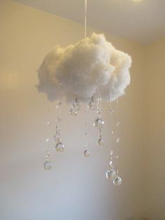 Large Ice Ball Crystal Cloud Nightlight Handmade from the finest clear faceted crystal balls, fluffy fiber fill and fitted with a magical LED glow, this cloud is pure luxury. My pictures simply don't do it justice! Not only does it act as a soft light by night, but also a gorgeous sun catcher by day. It's sure to impress where ever you choose to hang it.