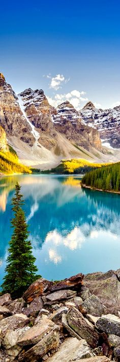 Moraine Lake, Canada The area around the lake has several walking/hiking trails which are, from time to time, restricted. The trail most commonly taken by tourists is The Rockpile Trail, which is along the actual moraine. The trail is approximately 300 metres long, with an elevation change of 24 metres (79 ft). The view of …