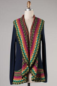 navy crochet trim cardigan - Style Me Posh Boutique