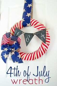 Try these patriotic of July crafts to deck out your home in red, white, and blue. These Fourth of July crafts for kids and adults are the best way to celebrate. Patriotic Wreath, Patriotic Crafts, July Crafts, Summer Crafts, 4th Of July Celebration, 4th Of July Party, Fourth Of July, Washi, Couronne Diy