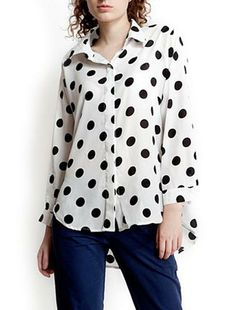 Point Print Long Sleeves Blouses