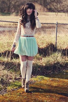 Ivory Long Slv Lace Top + Aqua A-line Skirt + Brown Skinny Bow Belt + White Over the Knee Socks + Print Lace Up Ankle Boots