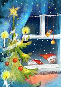 Anita Polkutie Christmas Time Is Here, Christmas Fairy, Christmas Scenes, Christmas Clipart, Christmas Pictures, Christmas Greetings, Winter Christmas, Painted Christmas Cards, Watercolor Christmas Cards