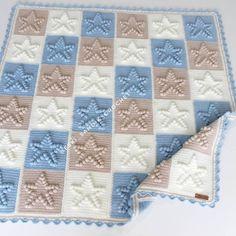 Modern Crochet Patterns, Afghan Crochet Patterns, Baby Knitting Patterns, Crochet Motif, Bobble Stitch Crochet, Crochet Ripple Blanket, Crochet Squares, Crochet Stitches For Beginners, Manta Crochet