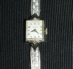 50er Jahre Nobel Hamilton Armbanduhr 10Kt. Weißgold Gold Filled Uhr