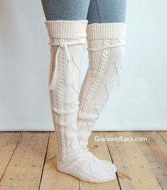 Alpine Thigh High Slouch Sock Cream thick cable by GraceandLaceCo